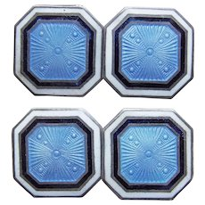 Art Deco Sterling & Enamel Cufflinks - Blue White Black Foster & Bailey