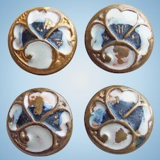 """Tiny Antique Buttons For Your Doll - 5/16"""" Enamel Painted"""