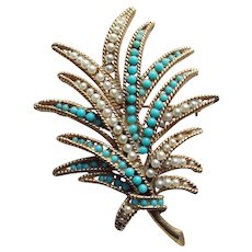 Gorgeous Faux Pearl & Turquoise Color Stones Vintage Brooch