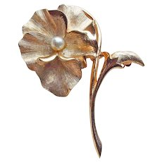 Gorgeous BOUCHER Pansy Signed Cultured Pearl Vintage Brooch