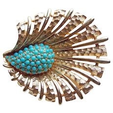 Fabulous Boucher Signed Turquoise Color Stones Vintage Brooch