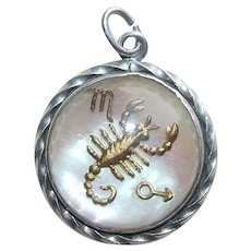 Awesome Sterling SCORPIO Bubble Glass Vintage Zodiac Charm - Astrology