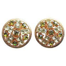 Gorgeous LISNER Signed Shades of Green Rhinestone Vintage Clip Earrings
