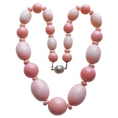Fabulous French ART DECO Coral Color Glass Bead Necklace - Signed Made in France - 128 grams - Red Tag Sale Item