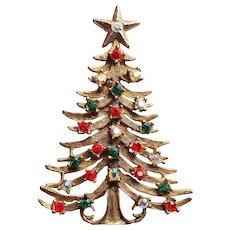 Gorgeous CHRISTMAS TREE Rhinestone Vintage Brooch - Signed TANCER II