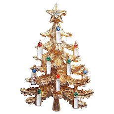 Awesome ART Signed Christmas Tree Rhinestone Brooch - with Enamel Painted Candles