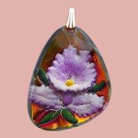 Gorgeous ORCHID Vintage Reverse Molded Vintage Pendant