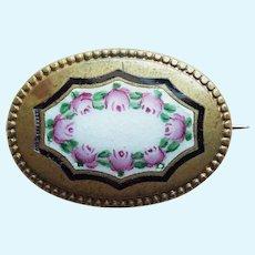 "Small Antique Enamel Mini Sash Pin Brooch - 15/16"" For Doll"