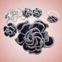 Fabulous JOAN RIVERS Signed Black Rose Enamel & Rhinestone Parure Set
