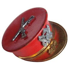 WWII 1940s Army Sweetheart Officer's Cap Vintage Locket Brooch - Military Hat - Red Enamel