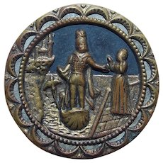 Antique Picture Story Large Button - Lady & Man in Boat