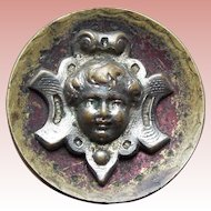 "Antique Victorian ANGEL FACE Button - 11/16"" Cherub"