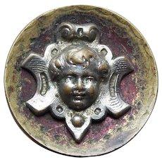 """Antique Victorian ANGEL FACE Button - 11/16"""" Cherub"""