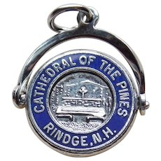 Sterling & Enamel CATHEDRAL OF THE PINES Vintage Mechanical Spinner Charm - Souvenir of Rindge New Hampshire