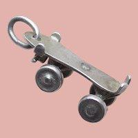 Sterling ROLLER SKATE Mechanical Vintage Estate Charm