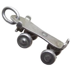 Sterling ROLLER SKATE Mechanical Vintage Estate Charm
