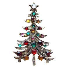 Fabulous HOLLYCRAFT Vintage Christmas Tree Brooch
