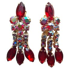 Gorgeous Red & Red Aurora Rhinestone Vintage Dangle Earrings - As Made