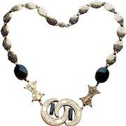Fabulous 1940s VICTORIAN REVIVAL Vintage Necklace - Double Crescent Moon Centerpiece
