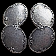 Gorgeous ART DECO Hammered Sterling Cufflinks