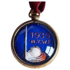 Art Deco 1939 World's Fair Glass Fob or Pendant - Trylon & Perisphere - New York Souvenir