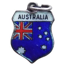 Vintage AUSTRALIA Sterling & Enamel Estate Charm - Travel Souvenir