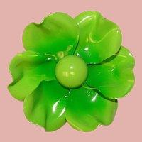 Fabulous 1960s Green Enamel Flower Power Vintage Brooch