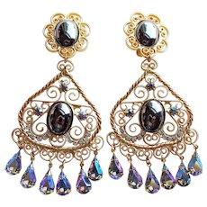 """Fabulous Huge D&E Juliana Rhinestone Heart S Scroll Vintage Earrings - 4"""" Long Runway Statement Large Dangling"""