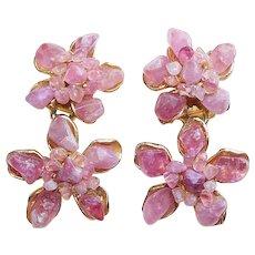 Fabulous SWOBODA Signed Vintage Gemstone Dangle Earrings