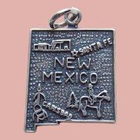 Sterling NEW MEXICO Vintage Estate Charm - State Souvenir