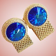 Awesome Dante BLUE RIVOLI Rhinestone Wrap Vintage Cufflinks