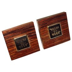 Awesome KNOCK ON WOOD Lucky Vintage Cufflinks