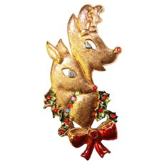 Awesome BEATRIX Signed Rhinestone Christmas Deer Vintage Brooch