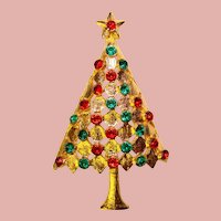 Beautiful RED & GREEN Rhinestone Vintage Christmas Tree Brooch