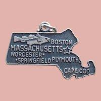 Sterling MASSACHUSETTS Vintage Estate Charm - State Souvenir