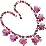 Fabulous PINK SATIN GLASS Rhinestone Vintage Necklace