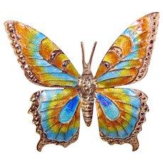Fabulous ALICE CAVINESS Signed Sterling & Marcasite Enamel Butterfly Brooch