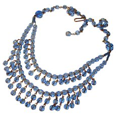 Fabulous W. GERMANY Vintage BLUE GLASS Double Row of Dangles Necklace
