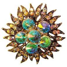 Fabulous RIVOLI Aurora Rhinestone Vintage Brooch