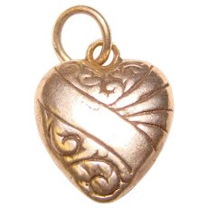 Tiny Sterling Puffy Heart Vintage Charm