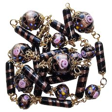 Venetian Italian Glass Wedding Cake Bead Vintage Necklace - Black with Gold Sparkle Murano