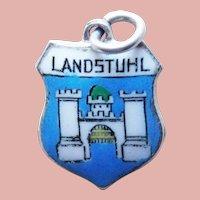 Vintage LANDSTUHL 800 Silver & Enamel Charm - Souvenir of Germany