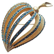 Fabulous FRANCOIS Signed Blue Rhinestone Vintage Brooch - Coro