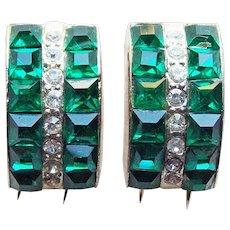 Gorgeous Green Rhinestone Art Deco Tiny Fur Clips