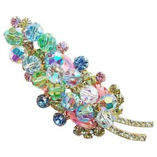 Fabulous D&E JULIANA Color Rhinestone & Aurora Crystal Vintage Brooch - Pastel Pink Yellow Blue Green