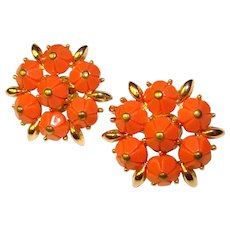 Gorgeous TRIFARI Coral Colored Stones Vintage Clip Earrings