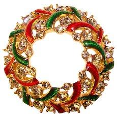 Swarovski Signed HOLIDAY WREATH Christmas Enamel Rhinestone Brooch - Swan Mark