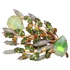 Gorgeous OPALESCENT GREEN Rhinestone Vintage Brooch