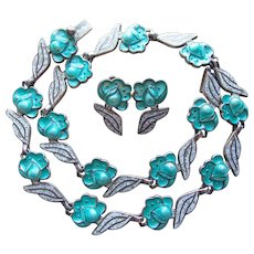 Fabulous MARGOT DE TAXCO Signed Sterling & Enamel Necklace Set - Mexican Silver Aqua & White Enamel