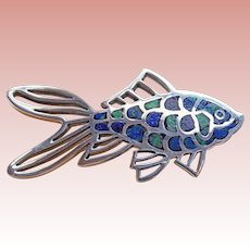 Fabulous FISH Mexican Sterling & Mosaic Inlay Vintage Brooch - Green & Blue Colors